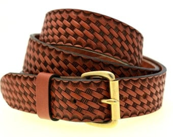 "Men Or Women's 1 1/2"" Medium Brown English Bridle Leather Belt Basket Weave Embossing Solid Brass Roller Buckle Nickel-Free Made In USA"