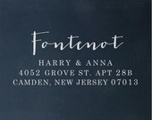 Custom Address Stamp - Calligraphy Stamp Eco Mount - wedding stamp - housewarming gift - Fontenot