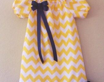 Girls Yellow dress, girls Chevron Peasant Dress, navy and yellow toddler baby girls dress
