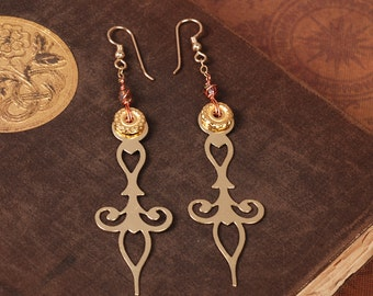 Brass Clock Hand Earrings - Steampunk Earrings - Brass Earrings - Dangle Earrings - Steam Punk Earrings