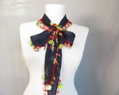 Navy blue scarves Dark blue Turkish Oya Scarf cotton scarves crochet scarves beaded scarves