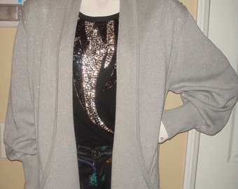 QUICK SILVER Lame Lurex Beaded Metallic Cardigan Jacket 90s Embellished Sweater Oversized