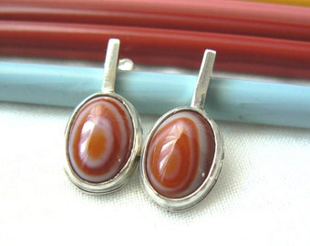 Lollipop - Sterling silver and Red Sardonyx Earrings Jewelry 925 cabochon christmas color - READY TO SHIP