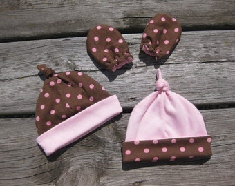Newborn Hat and Mittens - Brown with Pink Polka Dots - Ready to Ship