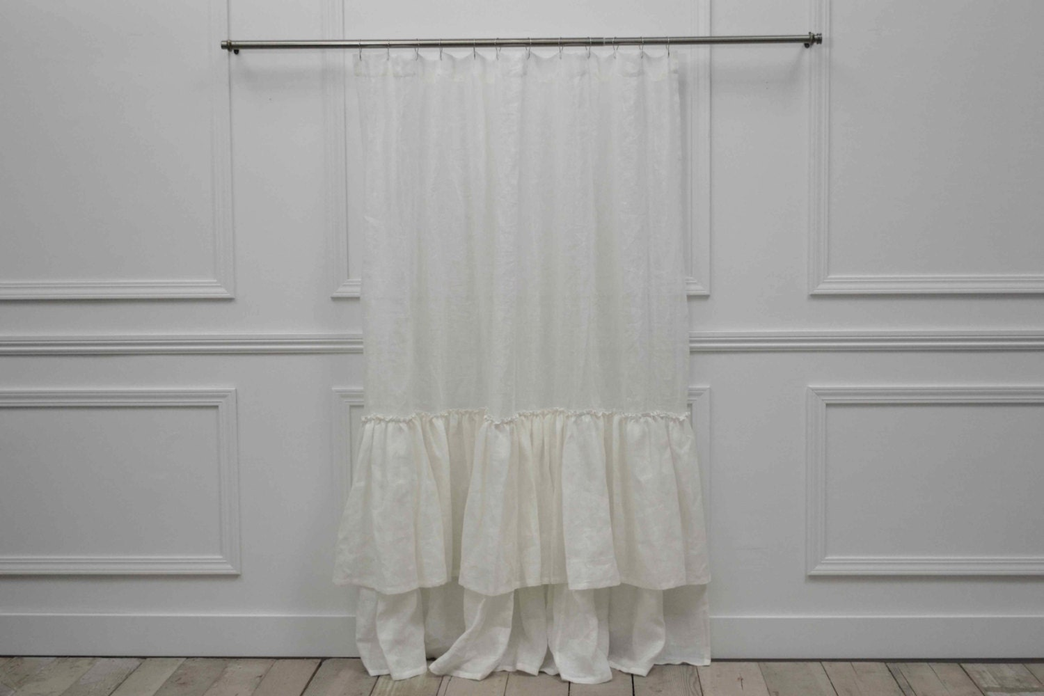 Brussels Double Ruffe Linen Shower Curtain