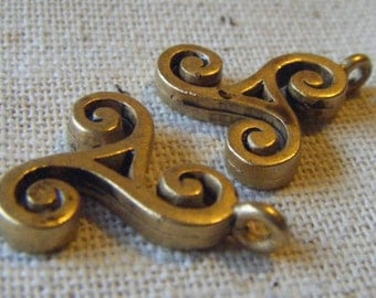 Vintage Celtic Style Brass Drop (2) Abstract, Geometric, Nouveau