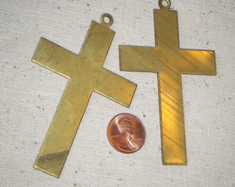 Large Solid Raw Brass Minimalist Cross Pendant (1) Patina, Die Stamping