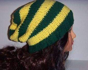 Wisconsin Football Team Hat, Slouchy Beanie Hat, Green and Yellow Striped Hat