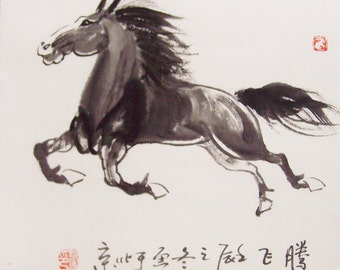 original horse painting chinese painting ink painting  oriental art chinese art -galloping horse No.12