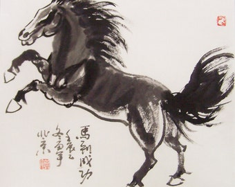 original horse painting chinese painting ink painting  oriental art chinese art -galloping horse No.14