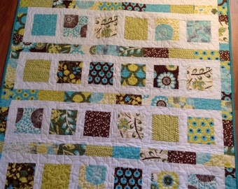 Baby Quilt in Sugar Pop fabrics - modern, brown, teal, aqua, blue