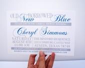 Bridal Shower - Something Old, New, Borrowed and Blue - DIGITAL DESIGN