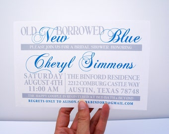 Bridal Shower - Something Old, New, Borrowed and Blue - DIGITAL DESIGN