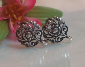5% off 5 Pairs - Best Seller, Sterling Silver Filigree Oxidized Floral Ear Post Earrings With Premium Ear Nuts, 12x10 mm - EP-0001