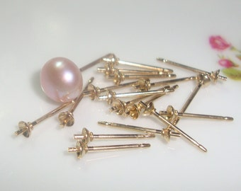 bulk 20 pcs, 3 mm cup, 14K Gold Filled Cup and Peg Ear Post