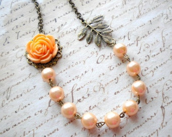 Peach Necklace Leaf Necklace Mother in Law Gift Peach Pearl Necklace Bridesmaid Gift Peach Wedding Jewelry Rose Necklace Bib Flower Necklace