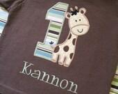 Personalized Giraffe Birthday Shirt- Jungle Birthday Shirt-  Giraffe Birthday Shirt