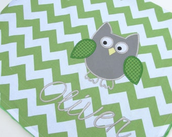 Personalized Baby Blanket 30x35- Minky Baby Blanket- Chevron Minky Blanket- Applique Baby Blanket- Custom Blanket- Chevron Bedding- Owl