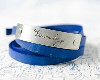 Dream Big  Adjustable Leather Wrap Bracelet