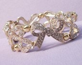 Set Of 2 Gold Rhinestone Set Bridal Bow Gold Stretch Bracelet