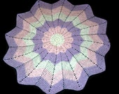 CIJ Sale Round Ripple Baby Afghan, Baby Blanket,  White, Pink, and Lilac Super Soft