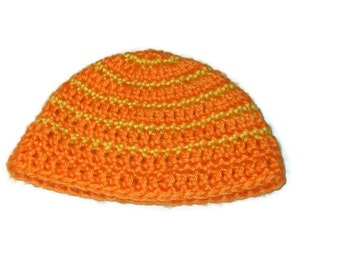 Striped Beanie Hat Newborn Baby Hat Crochet Orange And Yellow Size 3 Months