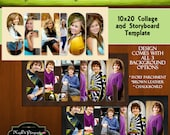 SENIOR Collage or Storyboard Now Available for INSTANT download 10x20 with 4 Background Options PSD Template