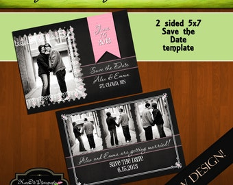 Now Available for INSTANT DOWNLOAD Chalkboard Glam 5x7 Save the Date Template/PSD file