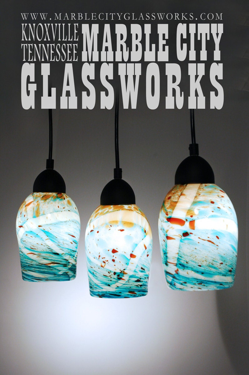 medium 7 pendant light hand blown glass by marblecityglassworks. Black Bedroom Furniture Sets. Home Design Ideas