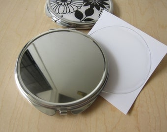 5 Two-sided Magnified Blank Compact Mirrors with Epoxy Resin Stickers Set DIY