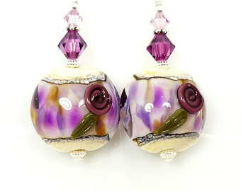 Purple Earrings, Floral Earrings, Lampwork Earrings, Glass Earrings, Glass Bead Earrings, Beadwork Earrings, Lampwork Jewelry