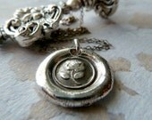 Victorian English Rose Necklace. Wax Seal Necklace. Fine Silver Wax Seal Jewelry