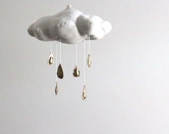 Metallic Rain Cloud Mobile in Gold or Silver - for baby nursery decor in white linen and metallic faux gold leather- Free US Shipping
