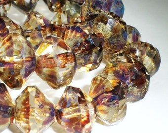 Faceted Clear Saucer Beads with Golden Amber Picasso Czech Glass Beads 13x9mm 8 pcs. S-056