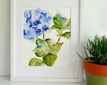 Hydrangea Watercolor, Print from Watercolor, 8x10, Watercolor Flowers