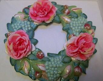 Wreath,Grapes, Flowers,  Seagreen, Ceramic Wreath