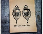 Marche avec moi - Screen print on wood veneer // Sérigraphie sur placage de bois