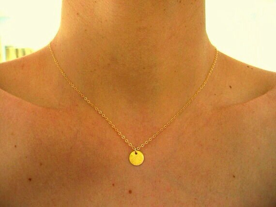 sun drop necklace gold pendant necklace small vermeil disc