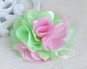 2 pcs- 3'' Two Tones Satin mesh silk flowers flat back wedding bridal bridesmaid brooch flowers - Mint Green Pink