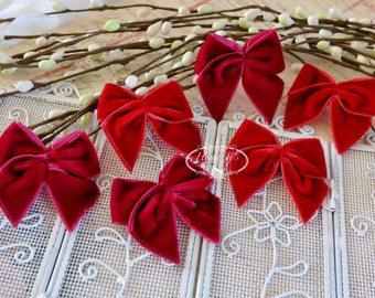 10 pcs Adorable Red and Merlot Velvet Butterfly Small Bows, Fabric Bows Tie, Velvet Bows. Hair Accessories. Baby Bow. Wedding Invitation.