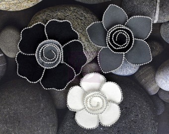 SALE CLEARANCE 30% off:  Prima Regency/ Queen Mary - Smoke 566197 Black Grey Mulberry paper flowers with Silver beaded edge