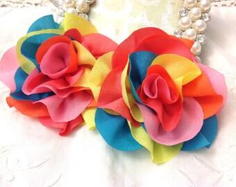 2 pcs Shabby Chic Chiffon Silky Ruffled Fabric Flower Bow Embellishments - Rainbow Colorful