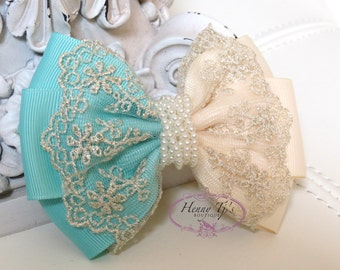 NEW: Ella Grace Collection -Two Tones AQUA Seafoam Green / Ivory Ribbon Lace Hair Bow knot Applique. Hair accessories. Fabric pearl bow.