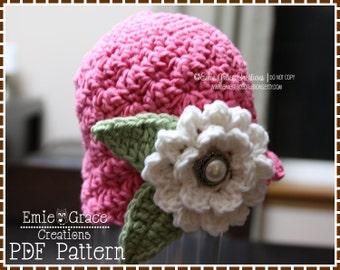 Crochet Flower Hat Pattern, 8 Sizes from Newborn to Adult, CHLOE - pdf 209