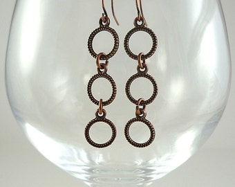Copper Earrings Antiqued Copper Earrings Copper Dangly Earrings Copper Hoop Earrings