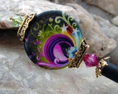 Bright Abstract Design Hair Stick Hairpin - Purple Shell Coin with Fuchsia and Peridot Swarovski Crystals Hair accessory - Irisa