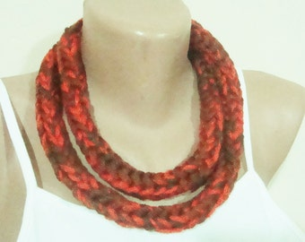 Hand Knit Lariat Necklace in Orange, Brown, Green  - Gifts for Women's gift under 10 dollar
