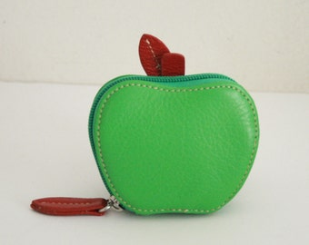 Genuine Leather Green Apple Coin Purse, Super Cute &  hard to find