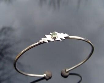 13 Point Bolt Bracelet - Sterling Silver - Small/Medium W/ One Gem