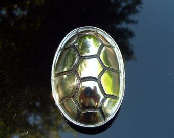 Terrapin Shell Belt Buckle - Sterling Silver